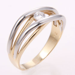 K18 プラチナ900 コンビ ダイヤモンドリング