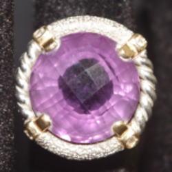 K18 プラチナ850 コンビ メレダイヤ付きリング