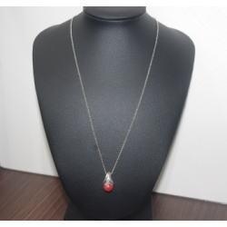 K18WG 赤サンゴメレダイヤ付き ネックレス