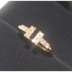 ティファニー K18 Tワイヤー ダイヤリング