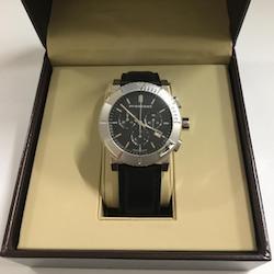 バーバリー 腕時計 BU2306 クロノグラフ SS 黒文字盤 クォーツ レザー
