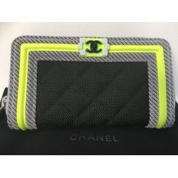 CHANEL シャネル 2016model ボーイシャネル ファブリックメッシュ 長財布 A80566