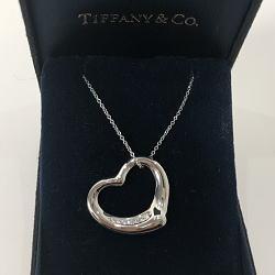 ティファニー TIFFANY&CO. オープンハート 7P ダイヤモンドネクッレス プラチナ950 10.6g