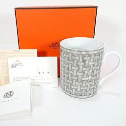 2018年購入新品 エルメス モザイク ヴァンキャトル プラチナ マグカップ シングル 300ml