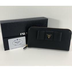 プラダ PRADA ラウンドファスナー リボン長財布 1ML506 ブラック