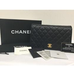 CHANEL / シャネル スクエア マトラッセ チェーンショルダーバッグ ゴールド金具 付属品完備