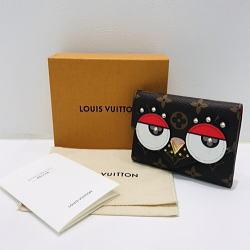 LOUIS VUITTON/ルイヴィトン ポルトフォイユ・ヴィクトリーヌ モノグラム×レッド 三つ折り財布 鳥モチーフ M67244