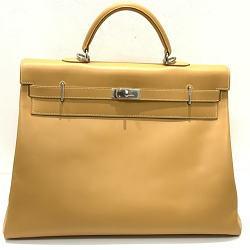 HERMES エルメス ケリー50 ハンドバッグ ナチュラルサブレ 内縫い □E刻印